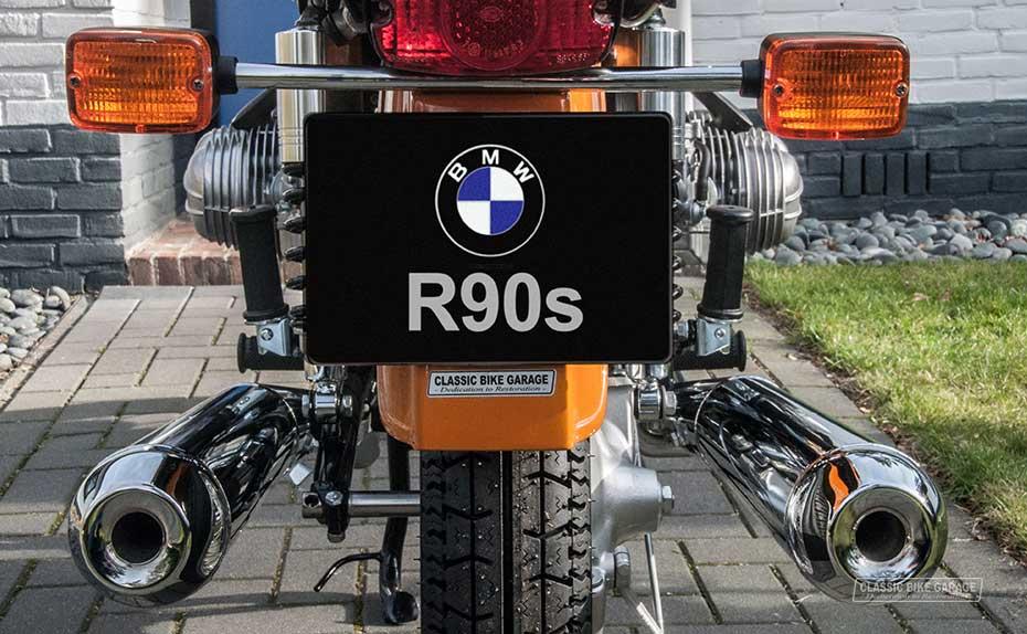 BMW R90s indrukwekkende uitlaatpijpenkant